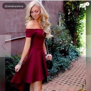 Windsor off the shoulder high low burgundy dress